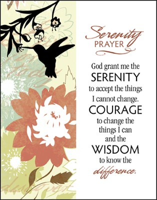 Serenity Prayer Glass Plaque  -