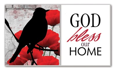 God Bless Our Home Glass Plaque  -