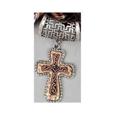 Scarf Accent Two Tone Cross  -
