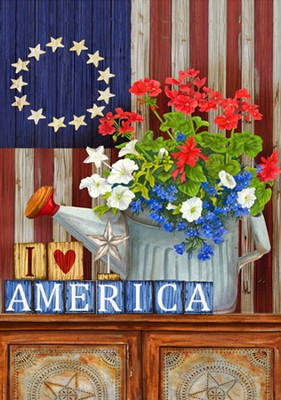 I Love America Flag, Large  -     By: MaryLou Troutman