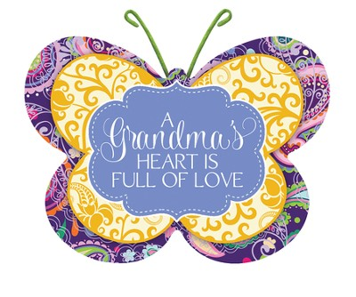 A Grandma's Heart Is Full Of Love, Butterfly Magnet  -