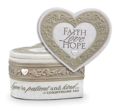 Faith, Hope, Love Keepsake Heart Box  -