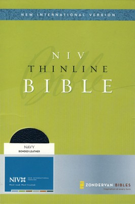 NIV Thinline Bible--bonded leather, navy blue (1984) (slightly imperfect)  -