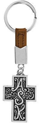Ask, Seek, Knock Keychain, Brown  -