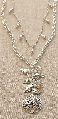 I Am the Vine Necklace, Antiqued Silver  -