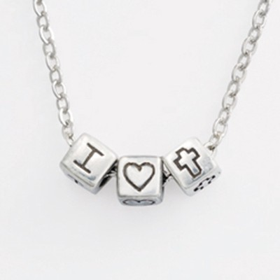 Mini Block Pendant, Heart and Cross  -