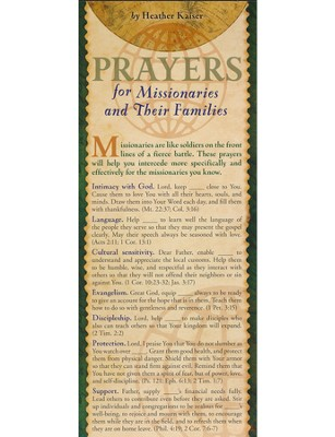 Prayers for Missionaries And their Families Prayer Card, Pack of 50  -