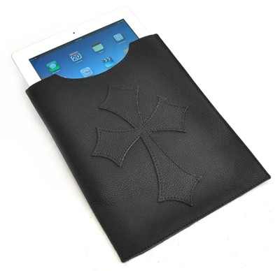 Leather IPad Cover with Flared Cross, Black  -