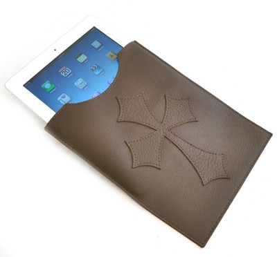 Leather IPad Cover with Flared Cross, Brown  -