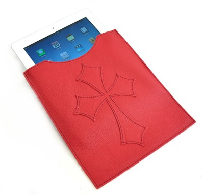 Leather IPad Cover with Flared Cross, Red  -