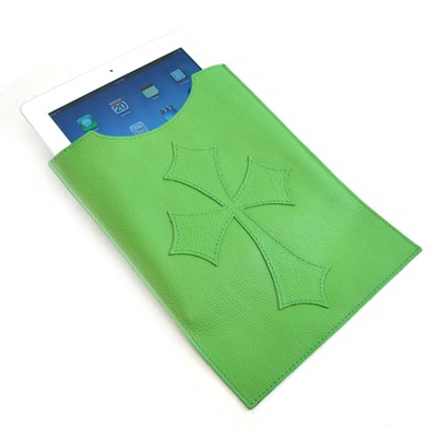 Leather IPad Cover with Flared Cross, Green  -