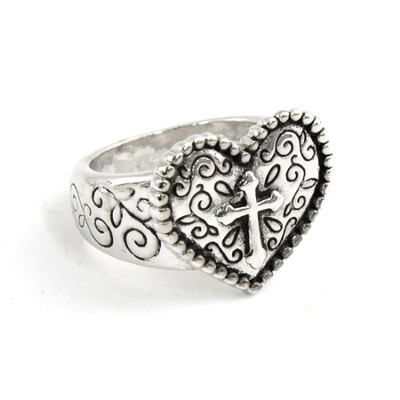 Heart with Cross Ring, Size 5  -