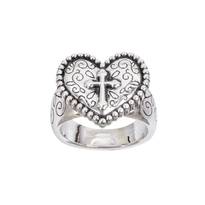 Heart with Cross Ring, Size 6  -