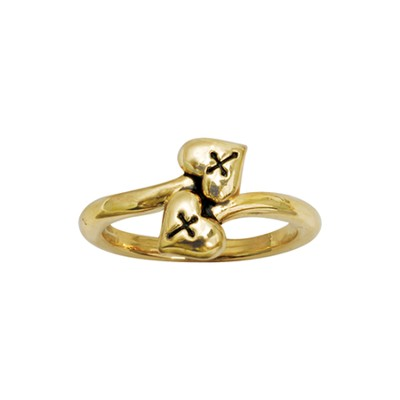 Double Heart with Cross Ring, Size 8  -