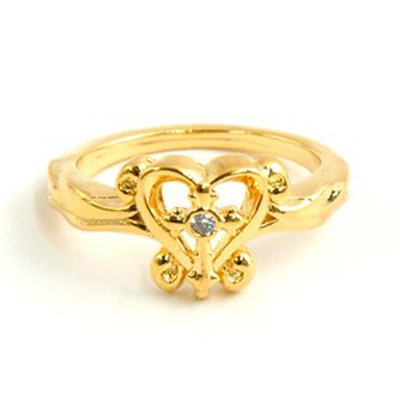 Open Heart with Cross Ring, Size 7  -