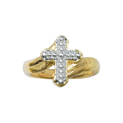 Cross on Swash Ring, Size 9  -