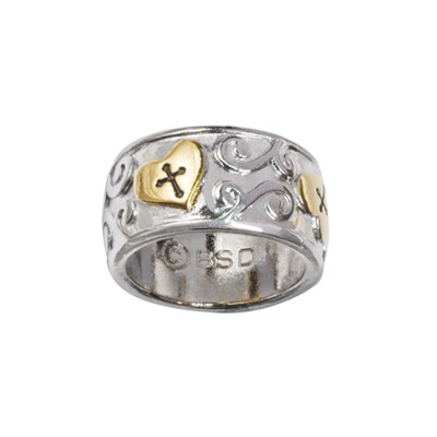 Heart with Swirls and Cross Ring, Size 8  -
