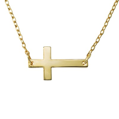 Horizontal Cross Pendant, Gold  -