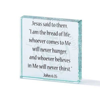 I Am the Bread of Life, John 6:35 Glass Block   -