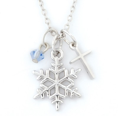 Snowflake Necklace with Cross  -