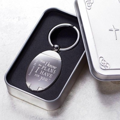 Jeremiah 29:11 Keyring in Metal Case  -