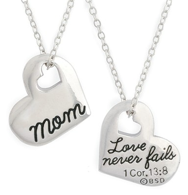Mom Necklace, with Cut out Heart  -