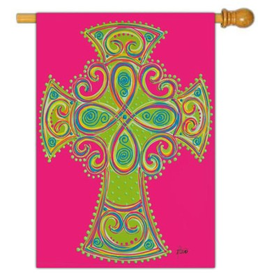 Celtic Cross Flag, Large  -     By: Brushfire Designs