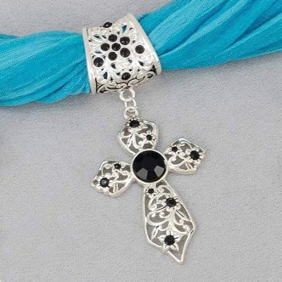 Scarf Slide Black Stone Cross   -