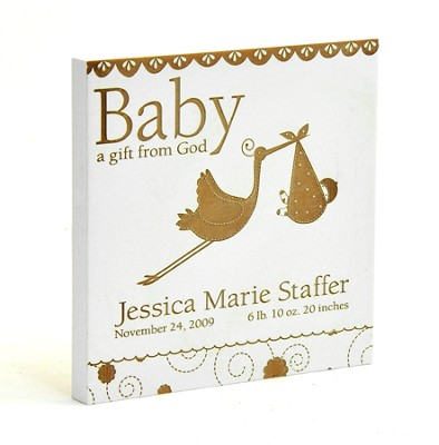 Personalized, Baby A Gift From God Square Plaque, Off White  -