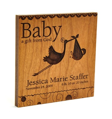 Personalized, Baby A Gift From God Square Plaque, Brown   -