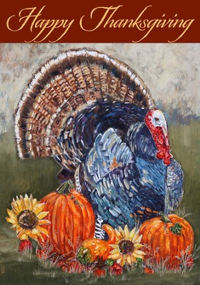 Happy Thanksgiving Flag, Large  -     By: Cindy Fornataro
