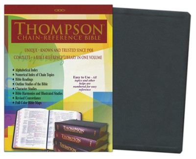 KJV Thompson Chain-Reference Bible, Large Print, Charcoal Black Kirvella Imitation Leather  -