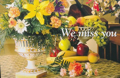 We Miss You Flowers Postcard (Package of 25)  -
