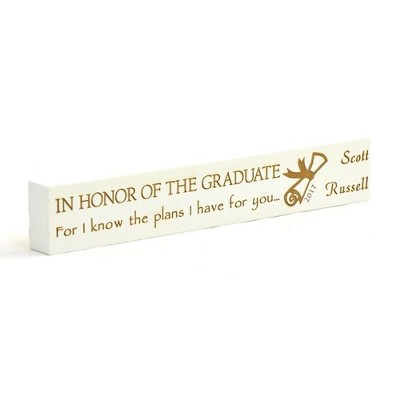 Personalized, Graduate White Long Plaque, Small   -