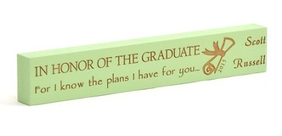 Personalized, Graduate Long Green Plaque, Small   -