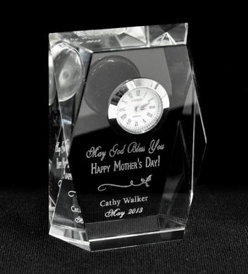 Personalized, May God Bless You, Mom Crystal Clock   -