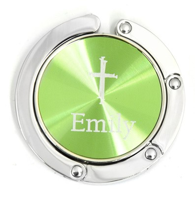 Personalized, Green Circle Purse Holder, With Cross   -