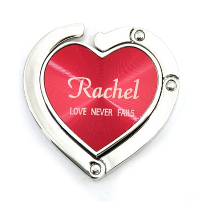 Personalized, Red Heart Purse Holder, Love Never Fails   -