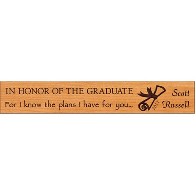 Personalized, Graduate Long Cherry Wood Plaque, Small   -