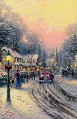 Thomas Kinkade Village Christmas Cards, Box of 18  -     By: Thomas Kinkade