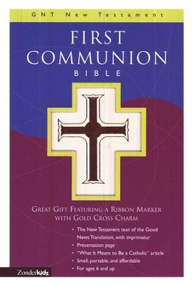 First Communion Bible, GNT New Testament, White Leather-look  - Slightly Imperfect  -