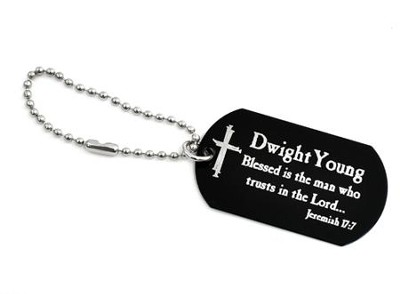 Personalized, Blessed is the Man Dog Tag, Black   -