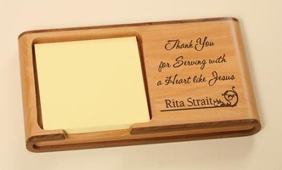 Personalized, Heart Like Jesus Wooden Memo Pad Holder   -