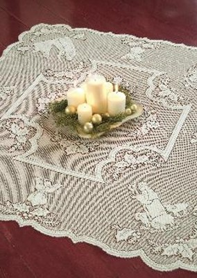 Lace Table Topper, Silent Night, White  -