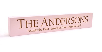 Personalized, Founded by Faith Long Desk Plaque, Pink   -