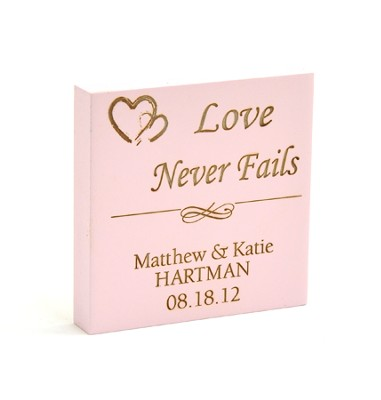 Personalized, Pink Magnet, Love Never Fails   -