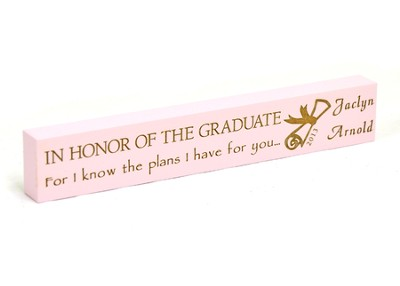 Personalized, Graduate Long Pink Plaque, Small   -
