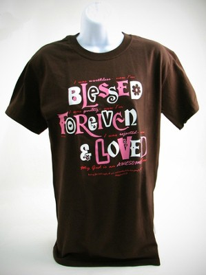 Blessed, Forgiven, Loved Shirt, Brown, Large  -