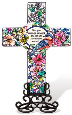 Cast Your Cares on the Lord Cross Suncatcher   -