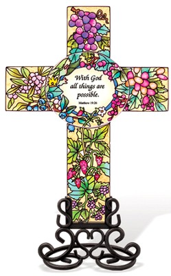 With God All Things Are Possible Cross Suncatcher   -